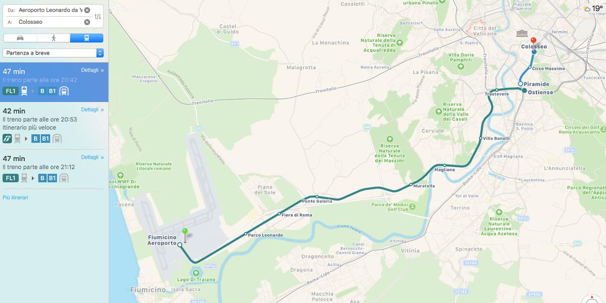 Apple mappa il trasporto pubblico della città di Roma