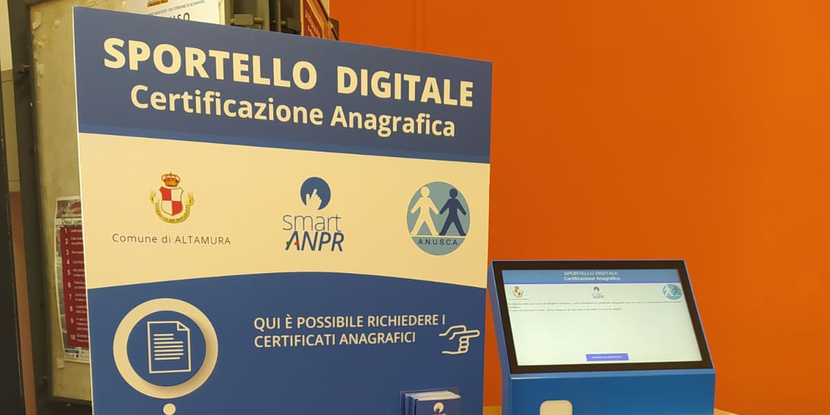 Il Comune di Altamura attiva un totem digitale per il rilascio dei certificati anagrafici
