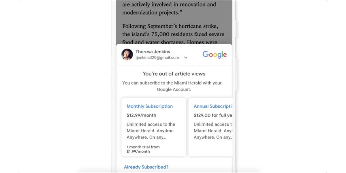 Subscribe with Google, il servizio che facilita l'abbonamento ai siti editoriali